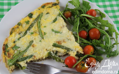 Рецепт Зеленый омлет со стручковой фасолью, руколой и зеленым луком