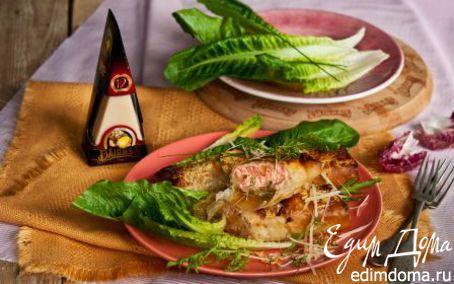 Рецепт Лосось в хрустящем тесте с сыром и шпинатом