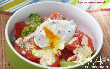 Рецепт Овощной салат с яйцом пашот