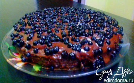 Рецепт Шоколадный пирог с арахисом и черникой