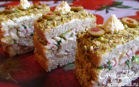 Рецепт Закусочные «тортики» с сельдью и крабовыми палочками