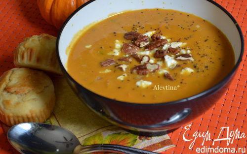 Рецепт Тыквенный суп с орехом пекан и сыром фета