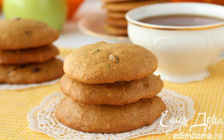 Рецепт Тыквенное цельнозерновое печенье с вяленой клюквой