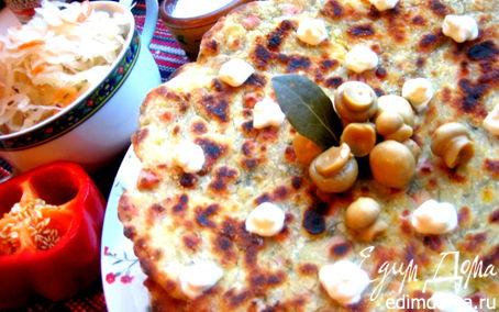 Рецепт Сырно-тыквенные лепешки с колбасой и зеленью