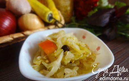 Рецепт Салат из зеленых помидоров с капустой