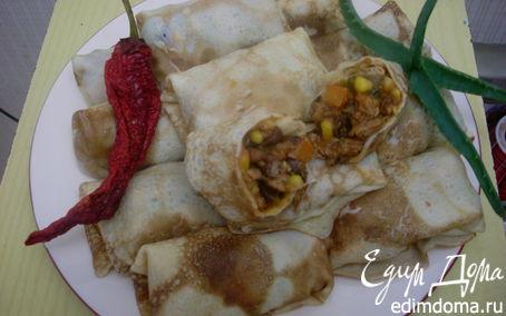 Рецепт Блины с мексиканской начинкой замороженные