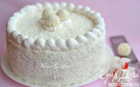 """Рецепт Торт """"Белый"""" с кокосовым кремом, миндалем и белым шоколадом"""