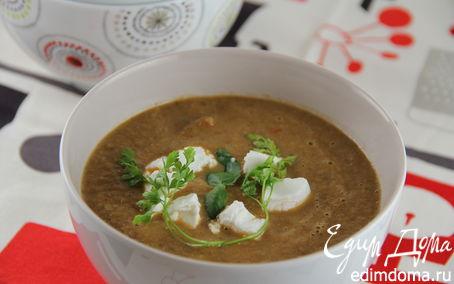 Рецепт Суп-пюре с запеченными баклажанами, помидорами и грибами