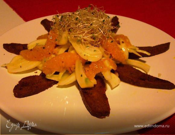 Салат из фенхеля и апельсина с жареным сейтаном