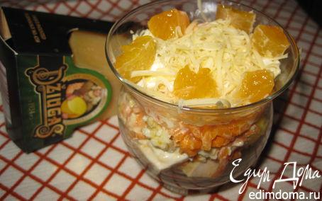 Рецепт Салат «Озорной цыпленок» с сыром Джюгас