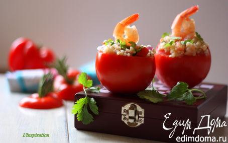 Рецепт Легкий салат с булгуром и креветками