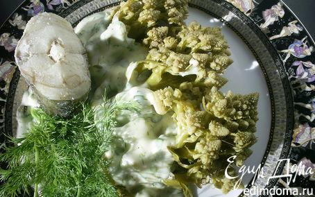 Рецепт Цветная капуста под сырно-чесночным соусом в пароварке