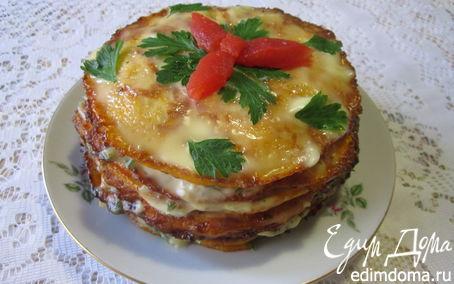 Рецепт Тыквенный закусочный торт с грибами