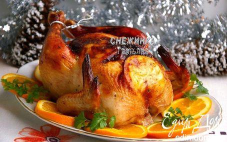 Рецепт Новогодняя курица, запеченная с апельсинами