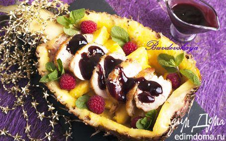 Рецепт Утка под винным соусом в ананасе