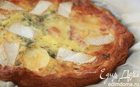 Рецепт Киш с копченым лососем и камамбером