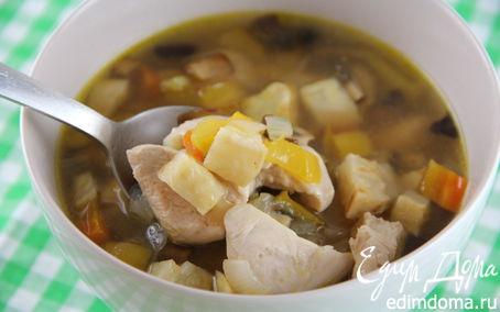 Рецепт Куриный суп с запеченными овощами и розмарином