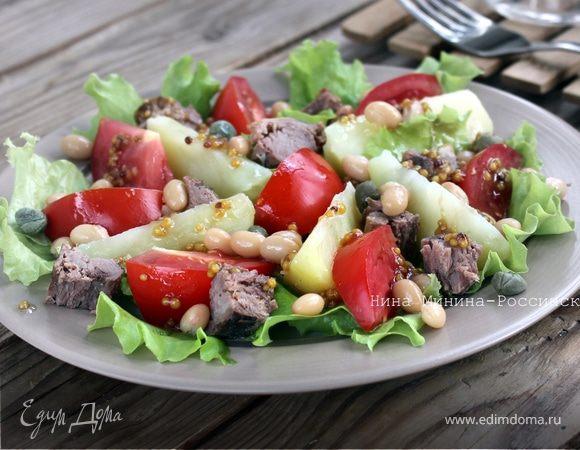 Салат с тунцом и белой фасолью