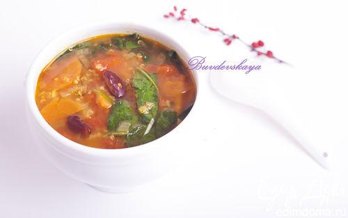 Рецепт Суп из киноа, фасоли и шпината