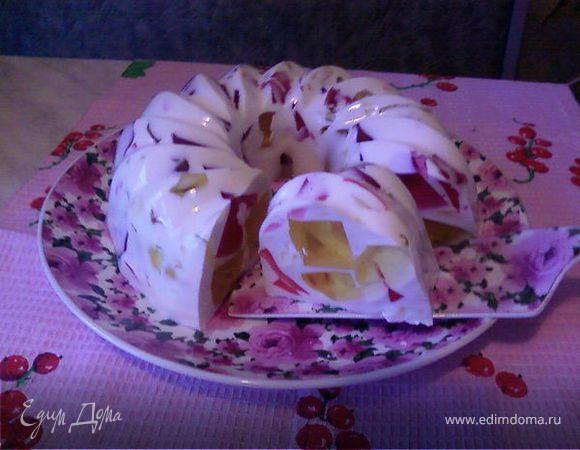 Вкусный десерт из разноцветного желе