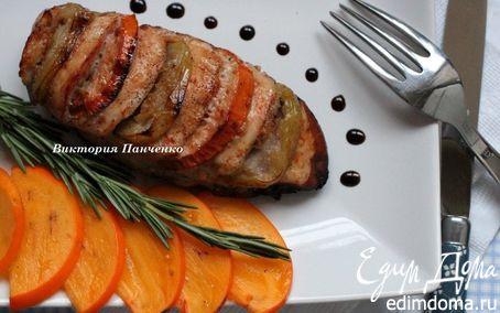 Рецепт Куриное филе с хурмой и яблоками