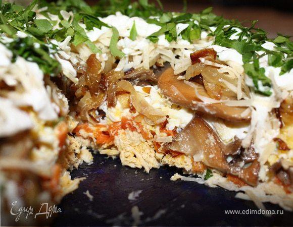 Слоеный салат под сырной шубой