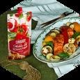 Лосось, запеченный с овощами