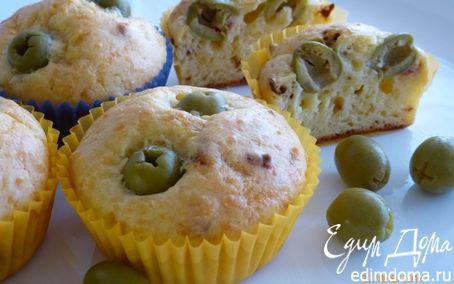 Рецепт Сырные маффины с паприкой и оливками