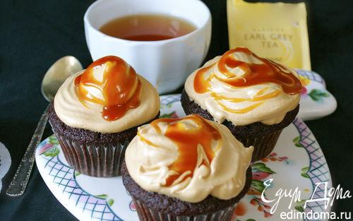 Рецепт Шоколадные капкейки со вкусом чая Эрл Грей и соленой карамелью
