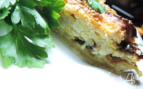 Рецепт Сырно-луковый пирог с грибами