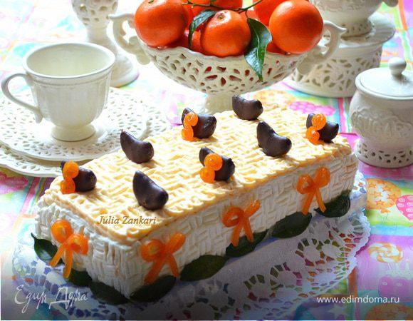 Тирамису с мандариново-сливочным муссом и шоколадом + мандаринки в шоколаде