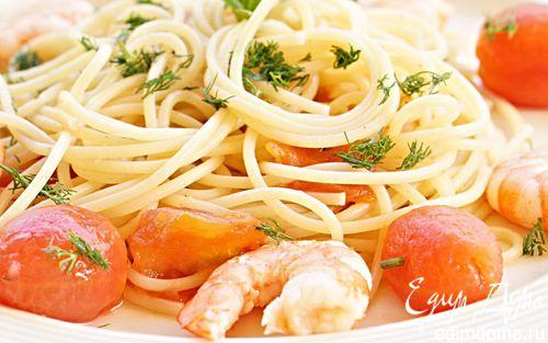 Рецепт Паста с креветками и томатами черри