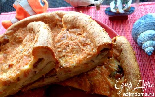 Рецепт Золотистый заливной пирог с рыбой