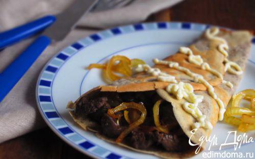 Рецепт Блинчики на гречневой муке с куриной печенью и карамелизированным луком