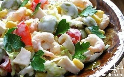 Рецепт Морской салат с оливками и помидорами черри