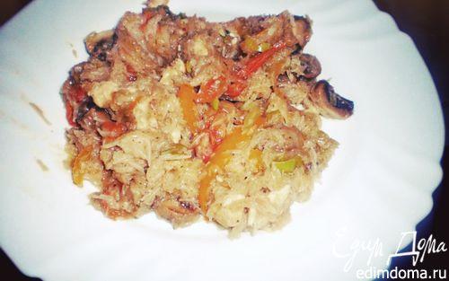 """Рецепт Фунчоза с курицей, грибами, овощами и соусом """"Терияки''"""
