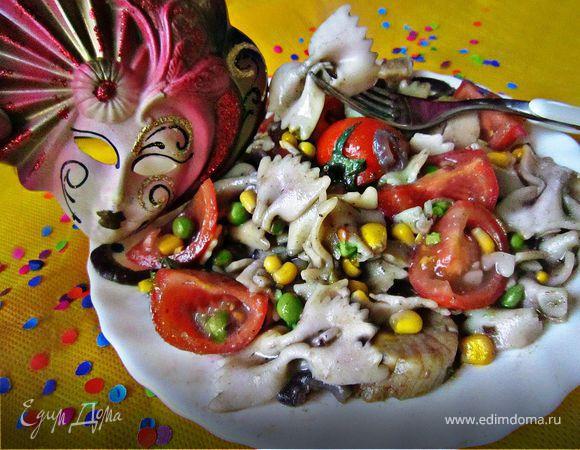 """Рагу с морскими гребешками и пастой фарфалле """"Венецианский карнавал"""""""