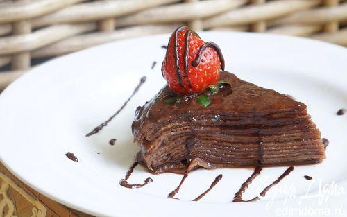 Рецепт Блинный торт с шоколадом и клубничным джемом