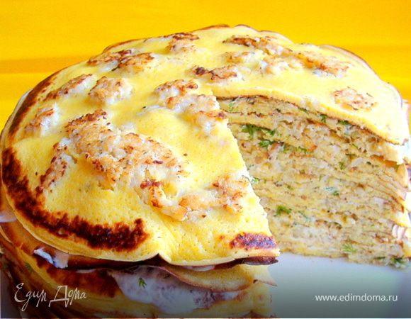 Пряные блины с припеком (рыбный торт)