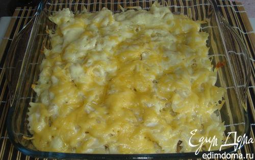 Рецепт Грибы в сливочном соусе под шубой из фарфалле