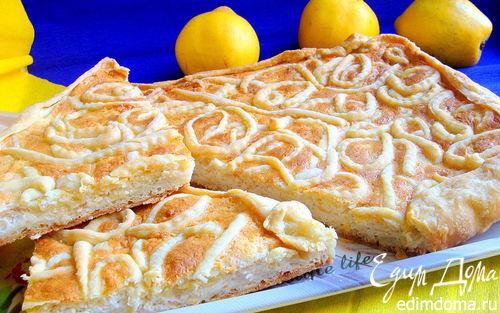 Рецепт Творожно-белковый пирог с айвой