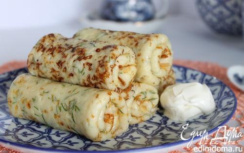 Рецепт Сырные блинчики с зеленью