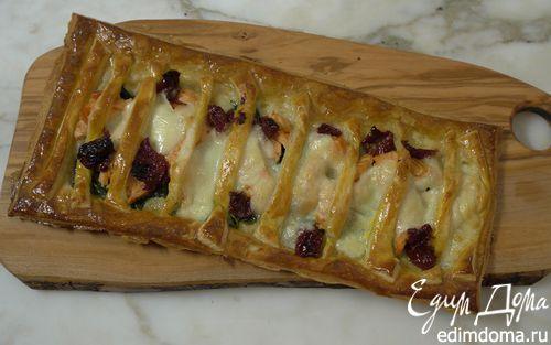 Рецепт Открытый пирог с рыбой, моцареллой и шпинатом