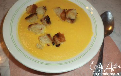 Рецепт Тыквенный суп-пюре с чесночными сухариками