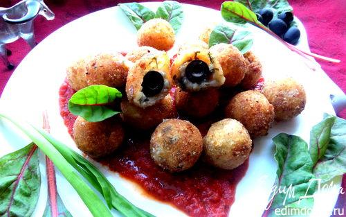 Рецепт Сырная закуска-шарики в томатном соусе