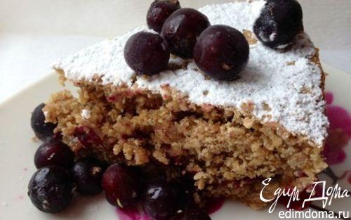 Рецепт Постный овсяный пирог с халвой и черной смородиной