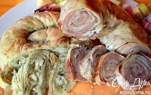 Рецепт Слоеные пироги-рулеты с несладкими начинками