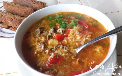 Рецепт Грибной суп с рисом и яйцом
