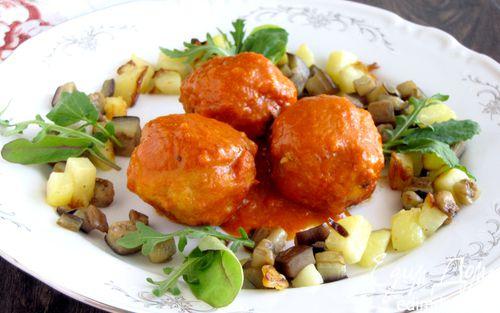 Рецепт Мясные шарики в томатно-апельсиновом соусе с гарниром