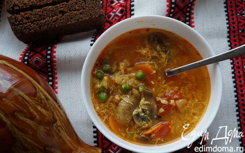 Рецепт Острый суп с рисом и зеленым горошком